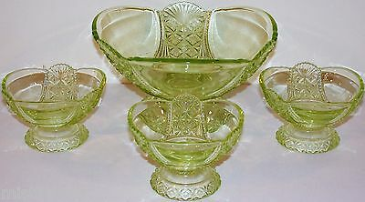 Vintage VASELINE GLASS master bowl and 3 berry bowls early one hobstar no damage