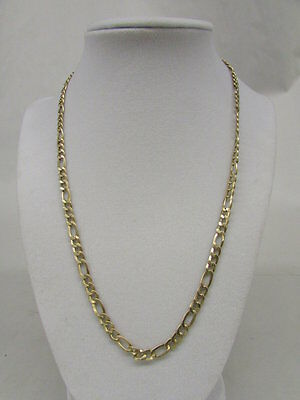 """Solid 14k Yellow Gold 3+1 Figaro Necklace 4.7mm 20"""", Weighs 9.50 grams"""