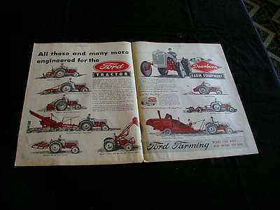 vintage 1949 ford tractor magazine print ad centerfold red NICE