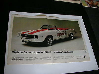 vintage 1969 chevrolet camero centerfold print ad official pace car hugger