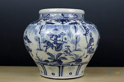 Fine Beautiful Chinese Blue and white porcelain character Pot