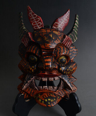 Chinese Handmade Carved Folk Customs Culture Sacred Nuo Opera Wood Mask-JR11098