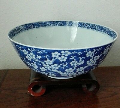 19C Antique Chinese Blue and White Prunus Bowl GuangXu Period With KangXi Mark