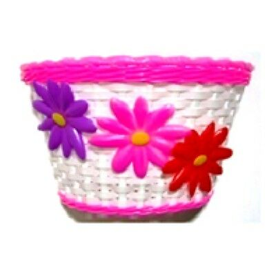 Brand new Girls Bike Basket Flower Front White with Pink Strip Plastic