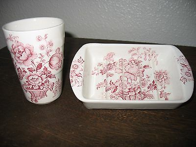 Vintage Royal Crownford  Pink and white Ironstone Glass and Soap Dish