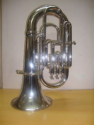 NEW-NICKEL-PLATED-Bb/F-FLAT-4 VALVE EUPHONIUM-FREE HARD CASE+M/P+FAST SHIPP