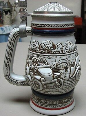 Car Classics Ceramic with Pewter Lid Beer Stein, 1980 - Boxed