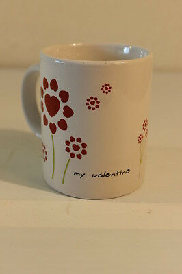 My Valentine Coffee Mug Pink Hearts Green Stems Just For You White Ceramic Cup