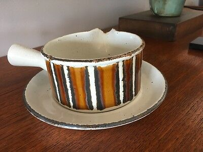 Vintage 70s Midwinter Stonehenge Pouring dish with saucer -  Earth