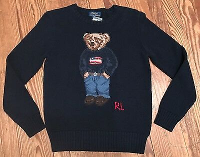 NWT Youth Polo Ralph Lauren Bear American Flag Crew neck Sweater Sz 7