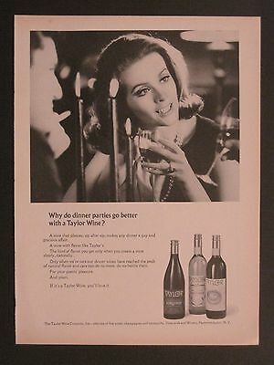 Vintage 1966 Taylor Wine Pretty Lady Magazine Ad!!!!!!!