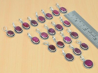 925 Silver Plated Wholesale 21Pc Red Ruby Pendant Lot