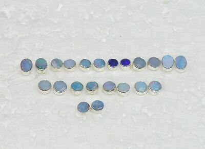 Wholesale 11Pair 925 Solid Sterling Silver Natural Australian Opal Earring Lot