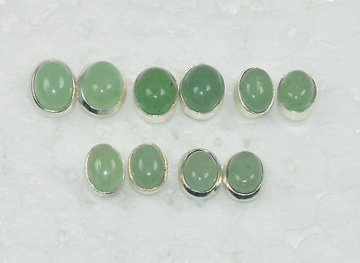 Wholesale 5 Pair 925 Solid Sterling Silver Natural Green Jade Stud Earring Lot