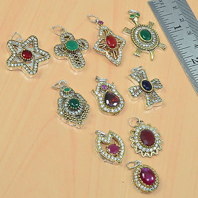 Wholesale 10Pc Silver & Solid Brass Ruby,emerald,sapphire Turkish Pendant Lot