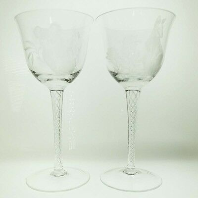 Anne Dybka Pair Etched Native Fauna Air Twist Wine Glasses FREE EXPRESS POST AUS