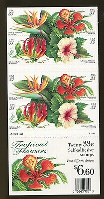 US Pane #3313 33c Flowers  Plate S22444 not folded,  p33133