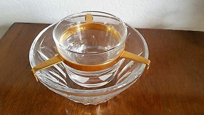 Baccarat  CRYSTAL GLASS CAVIAR 3 PIECE  SERVING SET  BOWL & DISH  SIGNED
