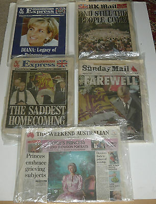 5x Original Australian Sunday Sun UK Mail Newspaper Princess Diana Death Funeral