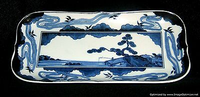 Chinese Porcelain Rectangular Dish Plate Blue White Marked Qianlong
