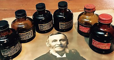 6 X Bottle Jars Of Antique Vintage Fountain Pen Writing School Office Ink Angus