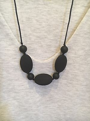 Silicone Sensory (was teething) Necklace for Mum Jewellery Beads Aus Gift Black