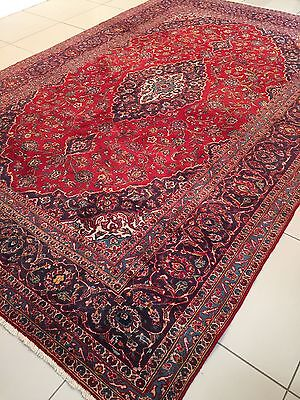 """BEAUTIFUL ANTIQUE 1985 PERSIAN HAND- KNOTTED  KASHAN CARPET RUG(11'8""""X8'ft)"""