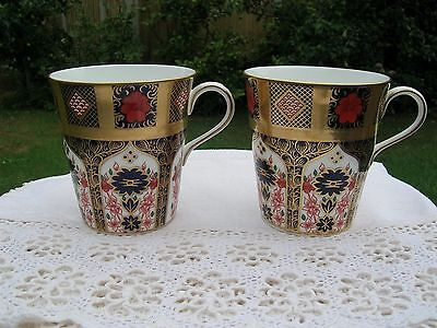 Royal Crown Derby Old Imari 1128 Gold Band Pair of Mugs 1st Quality.