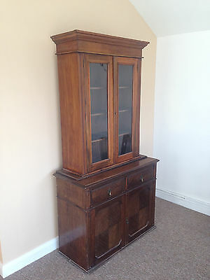 Antique glass fronted book case and cupboard