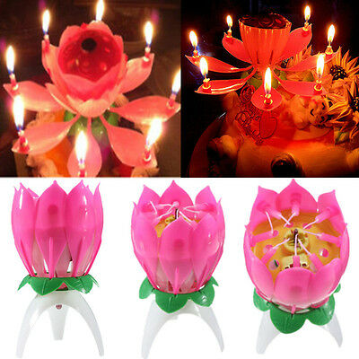 1 Musical Lotus Flower Lights Happy Birthday Candle Cake Topper Gift Party Decor