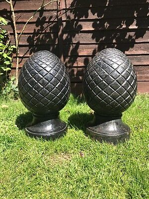 Pair Of Vintage French Cast Iron Drive Way Gate Post Pier Tops Finials Acorns