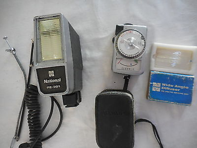 National Pe-301 Camera Flash & Wide Angle Diffuser & Sekonic Light Meter Vintage