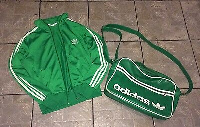 Adidas Green Retro Tracksuit Jacket 11-12 Years And Record Bag Bright Green