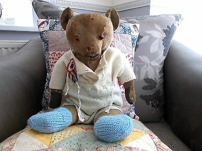 """""""Crispin"""" - Antique 1930's 19"""" Merrythought Bear - Beautiful Face - Old Clothing"""