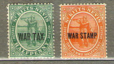 St. Kitts-Nevis. Overprinteds stamps colonies of the United Kingdom, 1916, 1918.