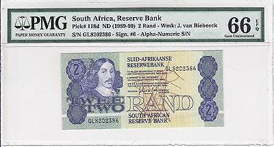 South Africa, ND(1989-90) 2 Rand P118d PMG 66 EPQ