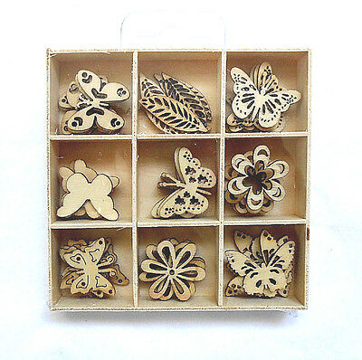 Box of 45 Assorted Mini Wooden BUTTERFLY Shapes Craft Embellishments