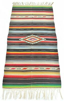 vtg 50S MEXICAN SALTILLO SERAPE BLACK WOOL SOUTHWEST THROW BLANKET rug 37x75