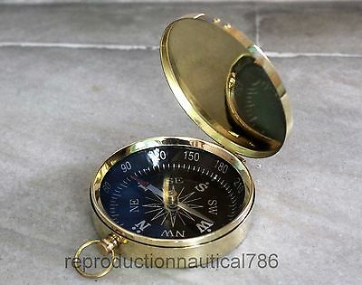 Shiny Brass Flat Compass Maritime Nautical Vintage Compass Pocket Gift Decor 3""