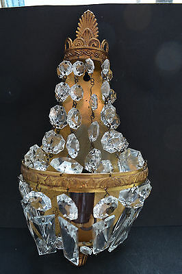 Pair of Vintage French Wall Sconces Crystal Lights Empire Style