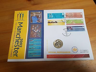 2002 Manchester XVII Commonwealth Games £2 (England) Coin First Day Cover Pack