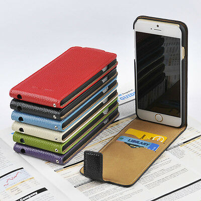 For Apple iPhone 6 6s Real Genuine Leather Wallet Case Slim Top Flip Cover OC