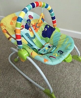Bright Starts Rock In The Park Rocker Bouncer Baby Toddler Rocking Chair Used