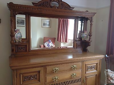 Victorian light blonde oak dresser and mirror...for Someone With Taste...