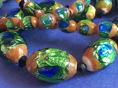 Antique Bohemian Peacock Eye foil glass bead necklace Stunning!