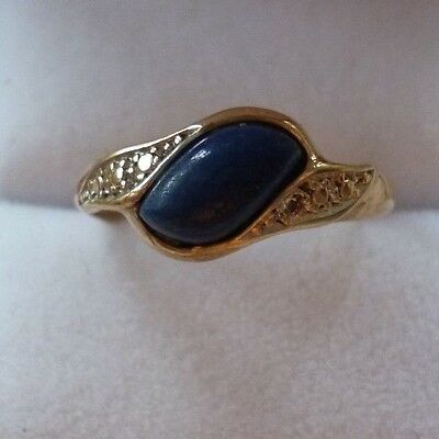 Vintage 9ct Gold Lapis Lazuli Ring ~ Size O ~  Scrap or Wear ~ 1.9g