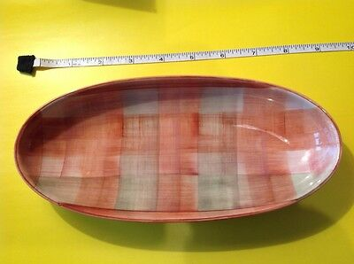 """JERSEY POTTERY HAND PAINTED OBLONG DISH 9"""" by 4"""" - ORANGE SQUARES DESIGN"""