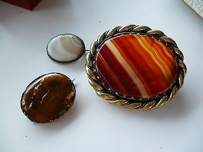 3 Antique Agate Brooches ~ Moss Agate & Silver edged