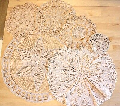 Set of Hand Crocheted Stained Lace Doilies - Set of 6 Vintage Wedding Decor