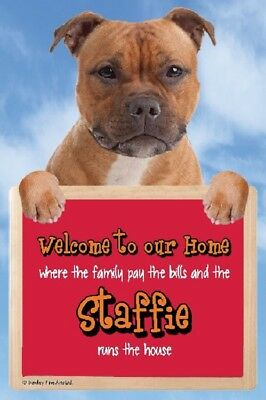 RED STAFFORDSHIRE BULL TERRIER 3D WELCOME SIGN great Christmas stocking filler